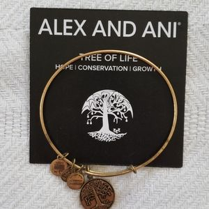 Alex and Ani Gold Tone Tree Bracelet with Card